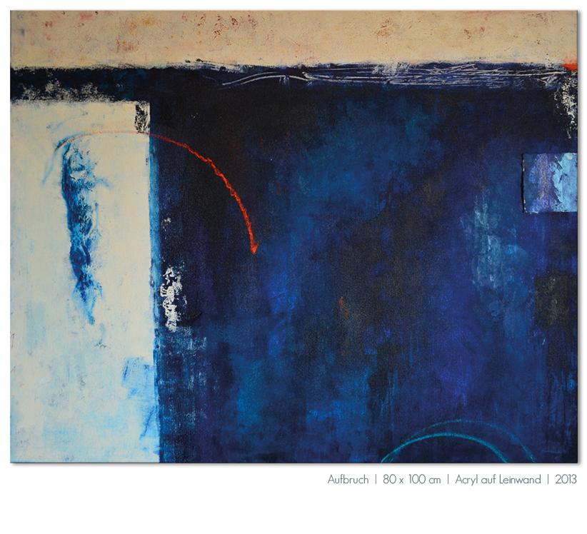 Kunst Malerei Acryl abstrakt Gestaltung Bilder kaufen Farben Aufbruch blau Sprung ins Wasser Walze Großformat Atelier bunt Esslingen Stuttgart Ostfildern