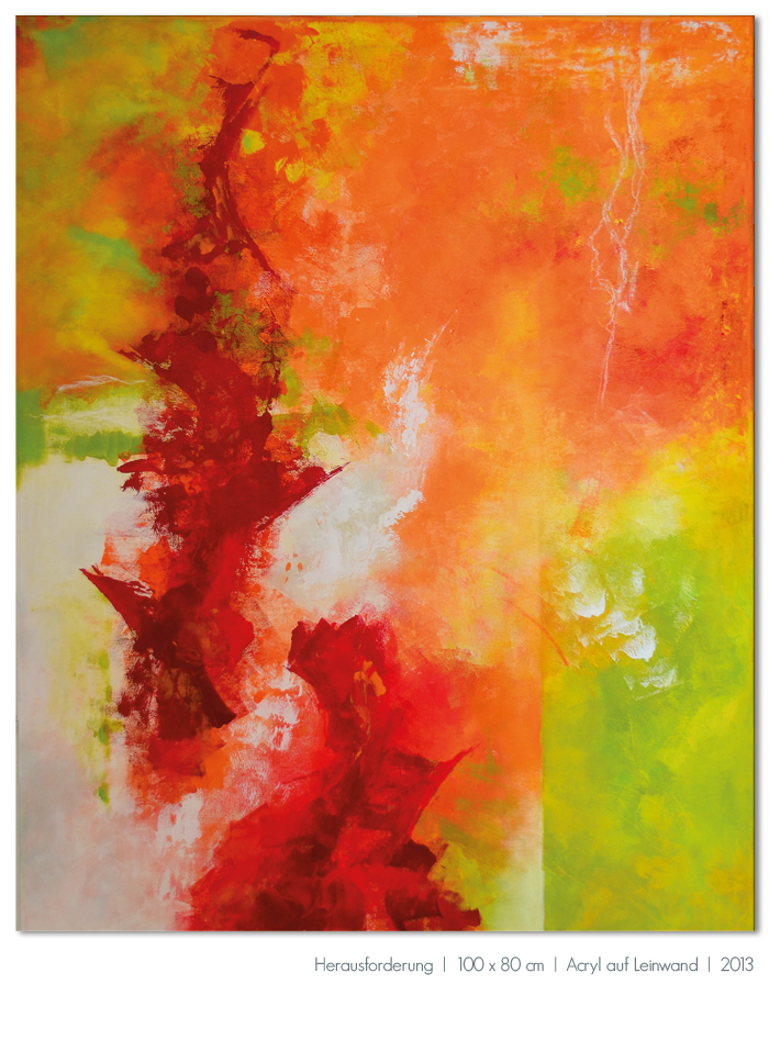 Kunst Malerei Acryl abstrakt Gestaltung Bilder kaufen Farben orange rot grün Herausforderung Walze Großformat Atelier bunt Esslingen Stuttgart Ostfildern