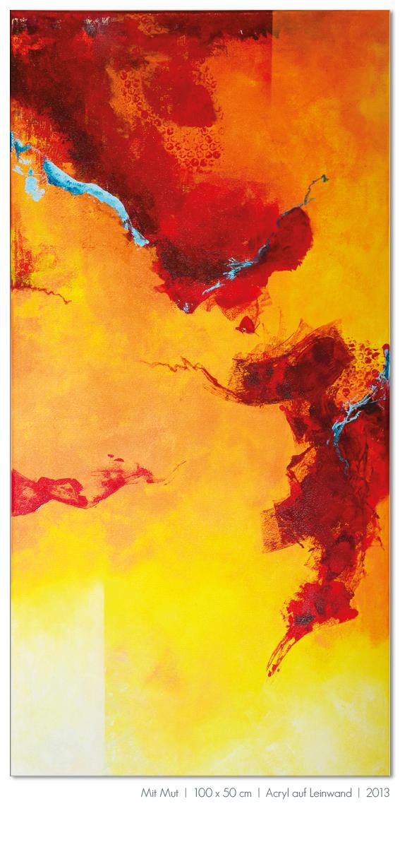 Kunst Malerei Acryl abstrakt Gestaltung Bilder kaufen Farben rot orange gelb Vogel Beere Mut Walze Großformat Atelier bunt Esslingen Stuttgart Ostfildern Mit Mut