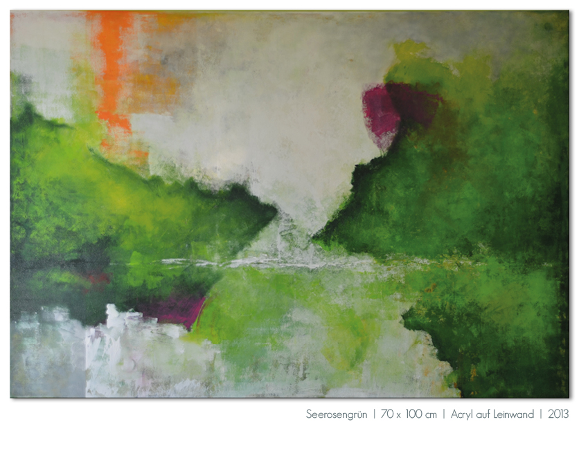 Kunst Malerei Acryl abstrakt Gestaltung Bilder kaufen Farben grün Seerosen grau Walze Großformat Atelier bunt Esslingen Stuttgart Ostfildern