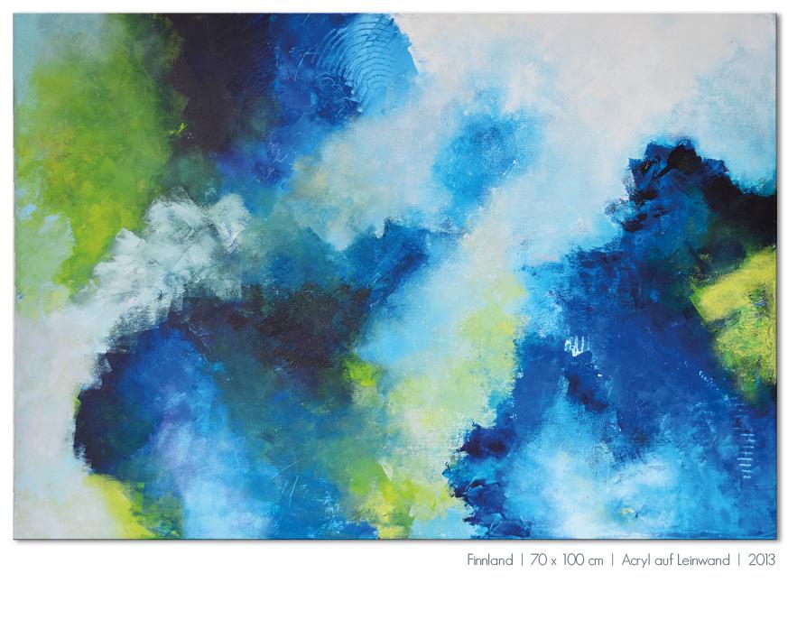 Kunst Malerei Acryl abstrakt Gestaltung Bilder kaufen Farben blau türkis grün Walze Großformat Atelier bunt Esslingen Stuttgart Ostfildern Finnland