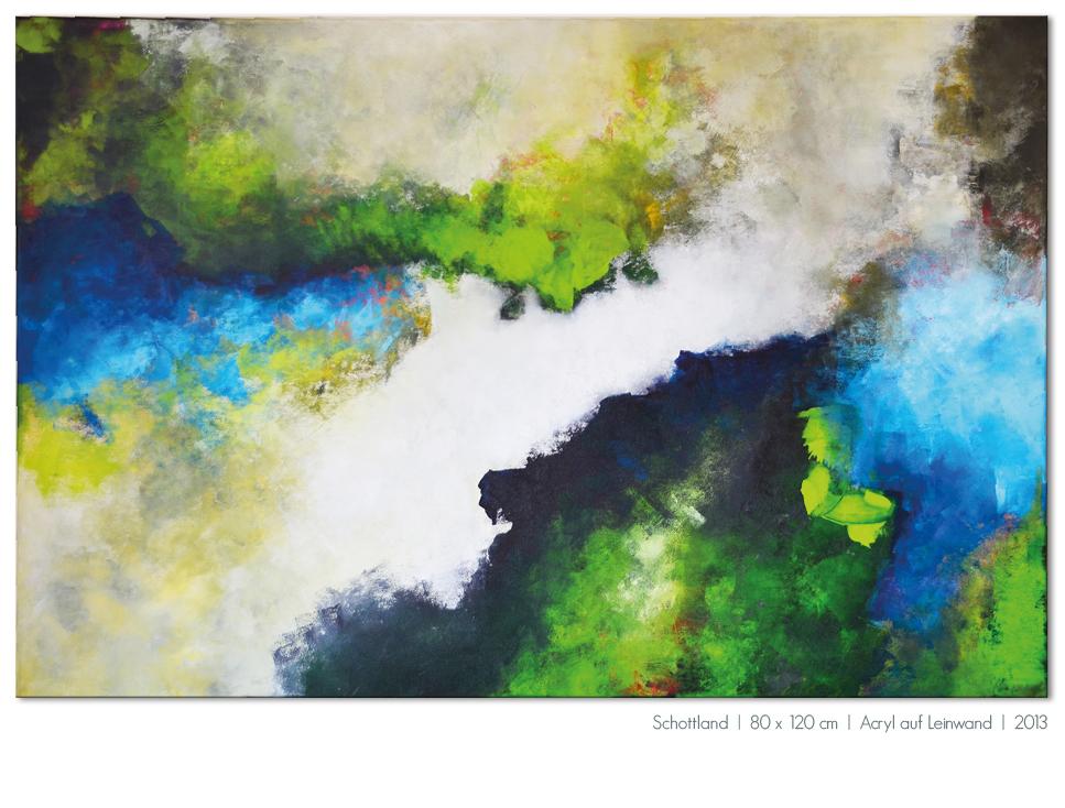 Kunst Malerei Acryl abstrakt Gestaltung Bilder kaufen Farben grün blau türkis Walze Großformat Atelier bunt Esslingen Stuttgart Ostfildern Schottland