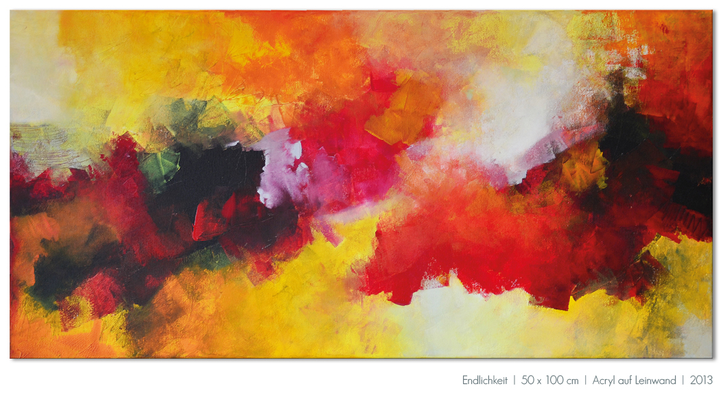 Kunst Malerei Acryl abstrakt Gestaltung Bilder kaufen Farben rot orange Walze Großformat Atelier bunt Esslingen Stuttgart Ostfildern Endlichkeit