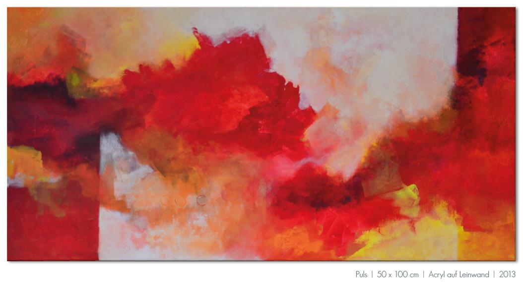 Kunst Malerei Acryl abstrakt Gestaltung Bilder kaufen Farben rot orange Walze Großformat Atelier bunt Ostfildern Stuttgart Esslingen Puls