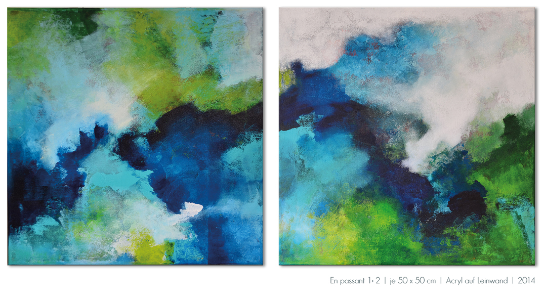 Kunst Malerei Acryl abstrakt Gestaltung Bilder kaufen Farben Serie grün blau grau Walze Großformat Atelier bunt Esslingen Stuttgart Ostfildern En passant Serie