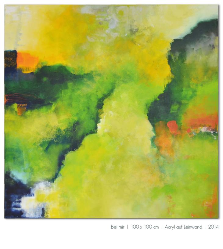 Kunst Malerei Acryl abstrakt Gestaltung Bilder kaufen Farben grün gelb orange grau Walze Großformat Atelier bunt Esslingen Stuttgart Ostfildern Bei mir