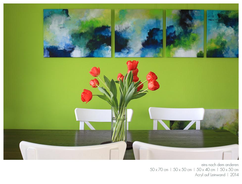 Kunst Malerei Acryl abstrakt Gestaltung Bilder kaufen Farben blau grün grau Walze Großformat Atelier bunt Esslingen Stuttgart Ostfildern Eins nach dem anderen Serie