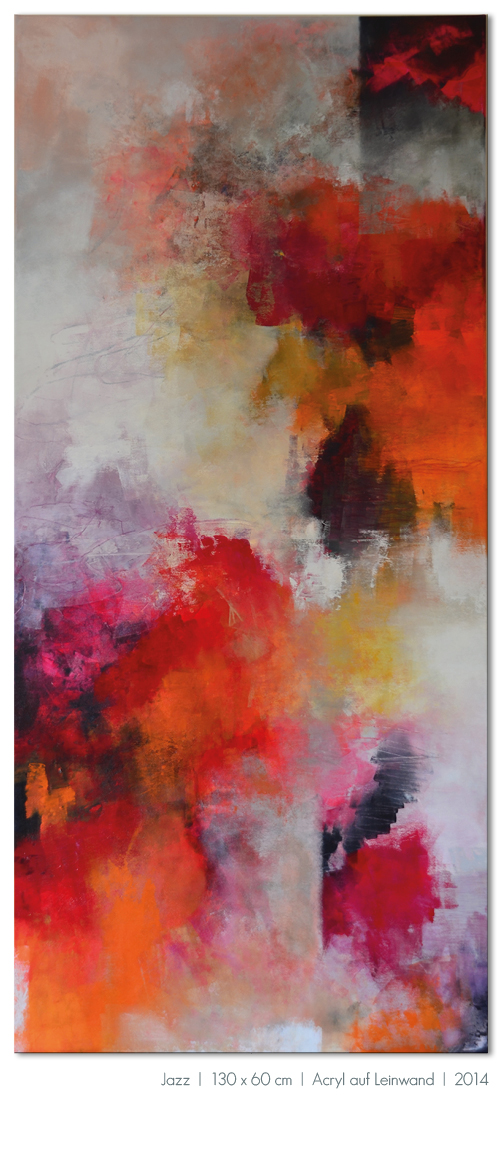 Kunst Malerei Acryl abstrakt Gestaltung Bilder kaufen Farben rot orange schwarz Jazz Musik Raum Walze Großformat Atelier bunt Esslingen Stuttgart Ostfildern