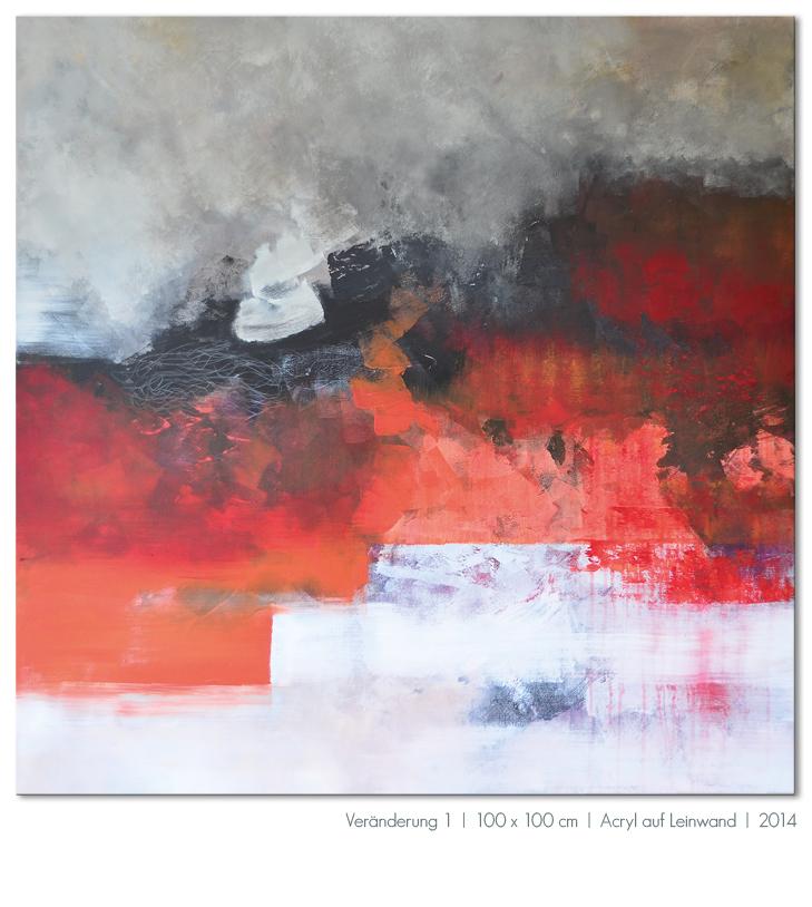 Kunst Malerei Acryl abstrakt Gestaltung Bilder kaufen Farben rot Schwarz weiß grau Walze Großformat Atelier bunt Esslingen Stuttgart Ostfildern Veränderung 1