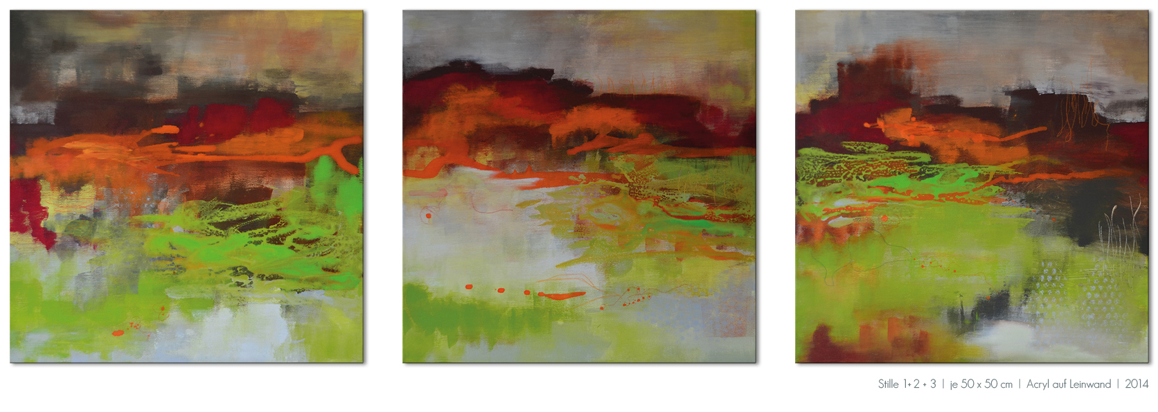 Kunst Malerei Acryl abstrakt Gestaltung Bilder kaufen Farben Herbst braun grün orange Wiese Wasser Walze Großformat Atelier bunt Esslingen Stuttgart Ostfildern