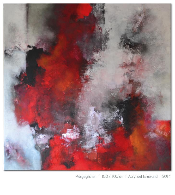 Kunst Malerei Acryl abstrakt Gestaltung Bilder kaufen Farben rot schwarz Ausgeglichen Achtsamkeit Gleichgewicht grau Walze Großformat Atelier bunt Esslingen Stuttgart Ostfildern
