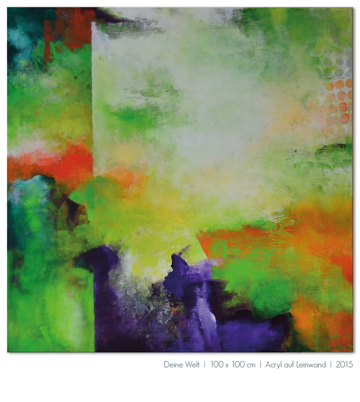 Kunst Malerei Acryl abstrakt Gestaltung Bilder kaufen Farben grün violett orange Walze Großformat Atelier bunt Esslingen Stuttgart Ostfildern Deine Welt