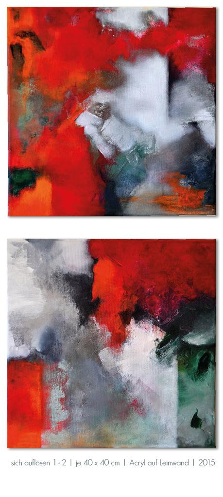 Kunst Malerei Acryl abstrakt Gestaltung Bilder kaufen Farben rot weiß grün grau Walze Großformat Atelier bunt Esslingen Stuttgart Ostfildern sich auflösen