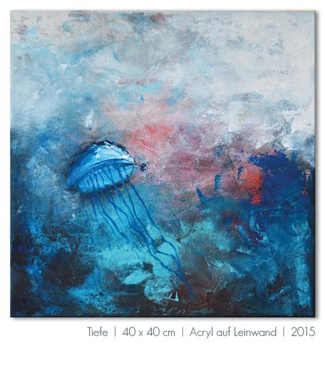 Kunst Malerei Acryl abstrakt Gestaltung Bilder kaufen Farben blau Meer Qualle grau Walze Großformat Atelier bunt Esslingen Stuttgart Ostfildern Tiefe