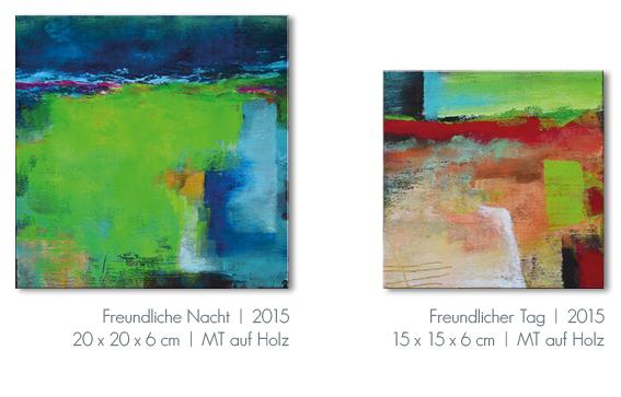 Kunst Malerei Acryl abstrakt Gestaltung Bilder kaufen Farben Holz Kasten Walze Atelier bunt Esslingen Stuttgart Ostfildern Freundliche Nacht Freundlicher Tag