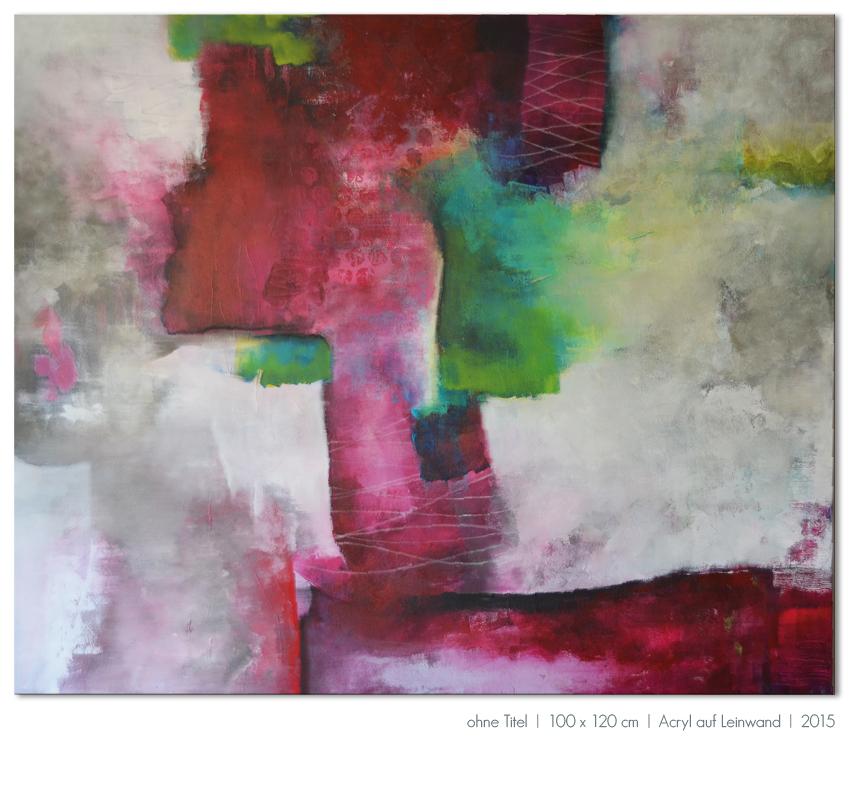 Kunst Malerei Acryl abstrakt Gestaltung Bilder kaufen Farben beere pink grau grün ohne Titel Walze Großformat Atelier bunt Esslingen Stuttgart Ostfildern