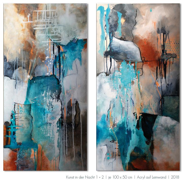 Kunst Malerei Acryl abstrakt blau türkis Nacht Gestaltung Bilder kaufen Farben Großformat Atelier bunt Esslingen Ostfildern Stuttgart